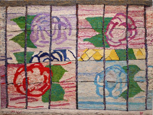 """Foto av kunstverket: """"Å alle blomstene"""", 100 x130 cm, billedvev"""