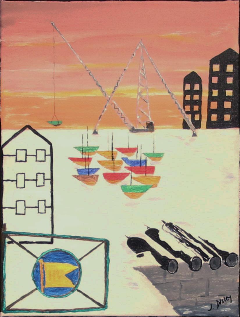 John Richard Disley, Hytte ved sjøen?, 30x40 cm, Akryl på duk, kr. 800,-
